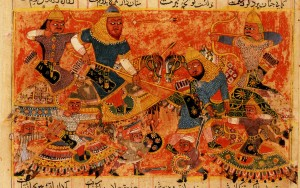 Rustam_Kills_the_Turanian_Hero_Alkus_with_his_Lance-Sultanate_of_Delhi-1450